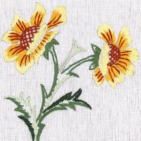 Napperons fleurs jaune-orange