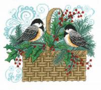 Panier de mésanges en hiver