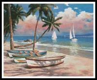 Bateaux sur une plage des tropiques