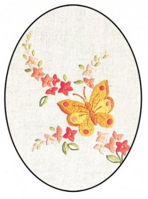 Napperon papillon d'or et fleurs