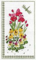 Fleurs et libellule