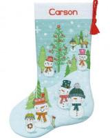 Chaussette de Noël : Bonhomme de neige et sa famille