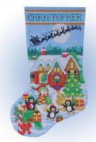 Chaussette de Noël : jeux de pingouins