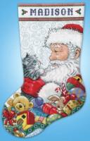 Chaussette de Noël : Père Noël et chaton