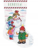 Chaussette de Noël : bonhomme de neige et les chats
