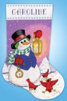 Chaussette de Noël : bonhomme de neige avec lanterne