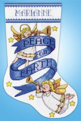 Chaussette de Noël : paix sur la Terre