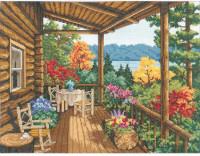 Balcon de la cabane en rondins