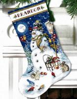 Chaussette de Noël : Bonhomme de neige et ses amis