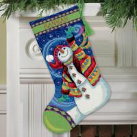 Chaussette de Noël : bonhomme de neige souriant