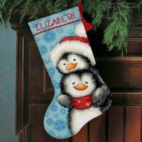 Chaussette de Noël : tendres pingouins