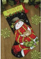 Chaussette de Noël : bonhomme de neige et ourson