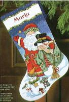 Chaussette de Noël : Père Noël et bonhomme de neige