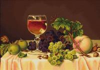 Nature morte raisins et vin