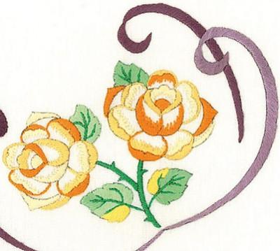 Napperons roses au ruban
