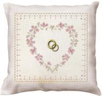 Coussin de mariage  : coeur rose