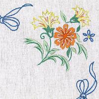 Napperons rubans bleus et fleurs