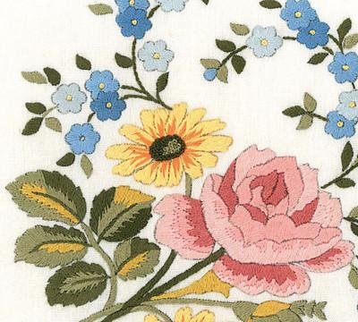 Napperons rose et myosotis