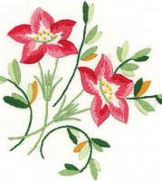 Napperons duo de fleurs rouges