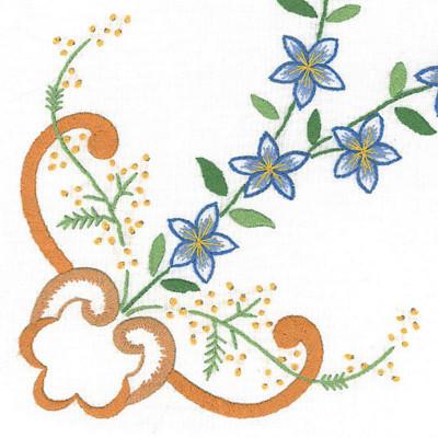Napperons ruban jaune et fleurs bleues