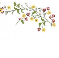 Napperons fleurettes rouges et jaunes