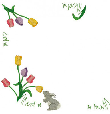 Napperons lapin aux tulipes