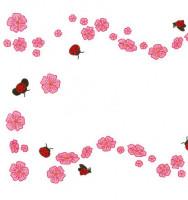 Napperons coccinelles et fleurs roses