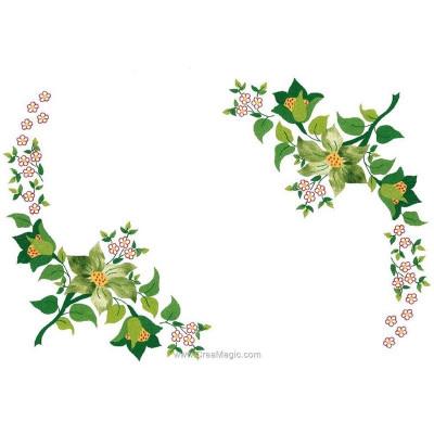 Napperons rameau fleurs et feuilles