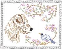 Napperon chien et oiseau