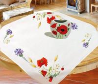 Surnappe et chemin de table fleurs des champs