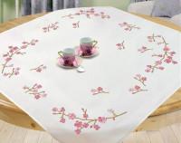 Surnappe et chemin de table fleurs de cerisier
