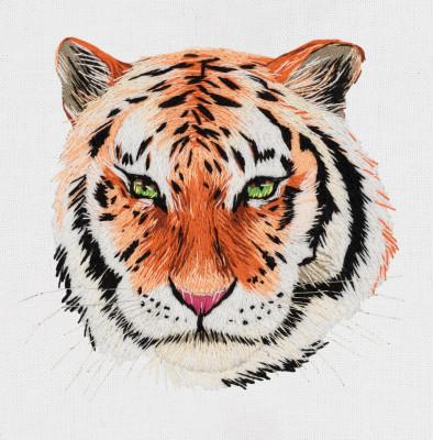 Pièce à broder et à coudre tigre