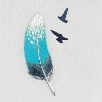 Pièce à broder et à coudre plume