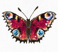 Pièce à broder et à coudre papillon paon