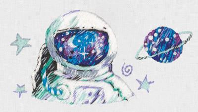 Pièce à broder et à coudre astronaute