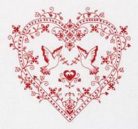 Coeur avec tourterelles