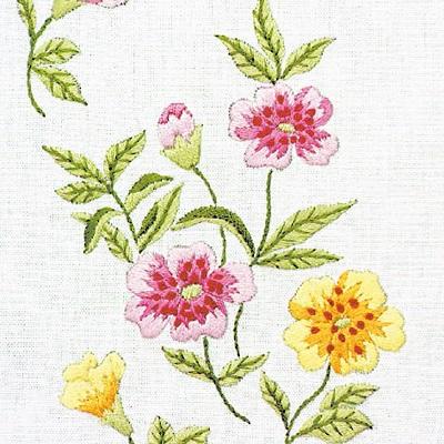 Napperons fleurs roses et jaunes