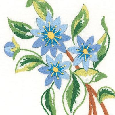 Napperons fleurs bleues