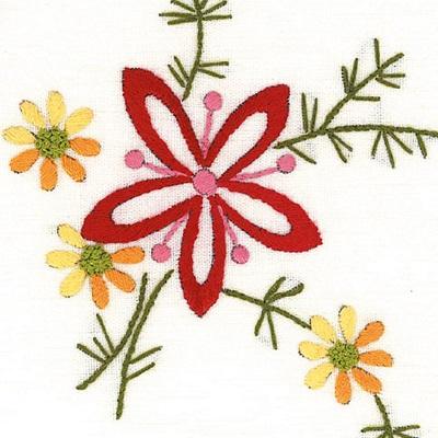 Napperons fleur rouge