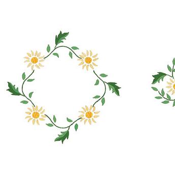 Napperons fleurettes jaunes en carré